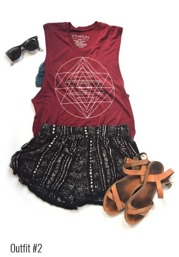 Coachella outfit # 2 - Muscle tank top, printed shorts, lace bralette // Nattie on the Road