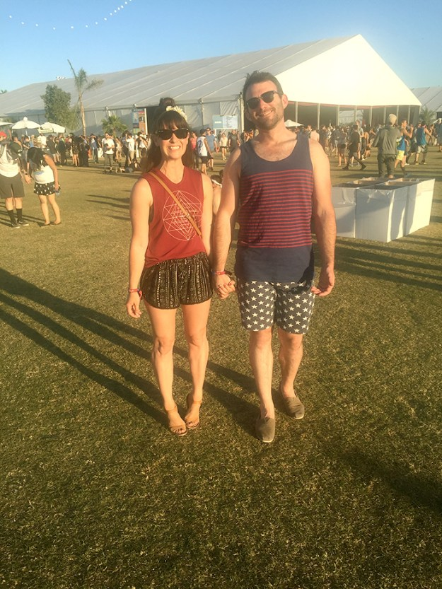 Coachella Outfit - patterned shorts, graphic tank, flower crown, and boyfriend // Nattie on the Road