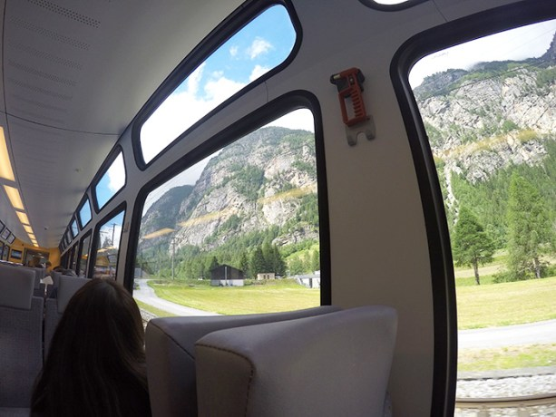 Cog train to Zermatt has giant windows so you can see the awesome views // Nattie on the Road