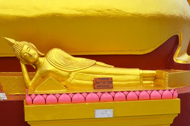No sitting on the Buddhas