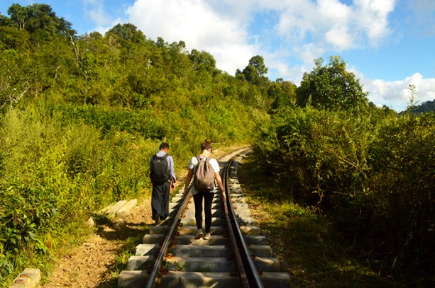 Hiking along the train tracks in rural Myanmar