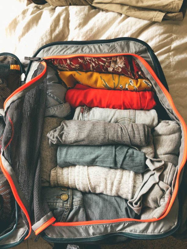 packing light in a backpack