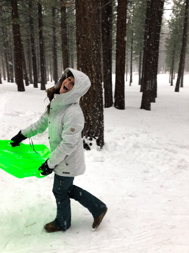 going sledding in South Lake Tahoe in Winter