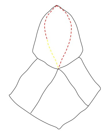 Red and yellow threads in whip stitches along the facial opening