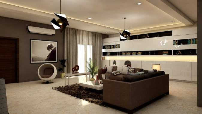 image of a room with black as accent color