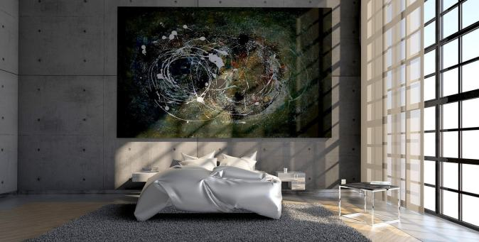pic of a bed with designer painting
