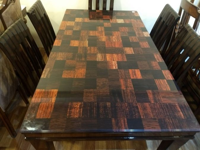 image of dining table with checks