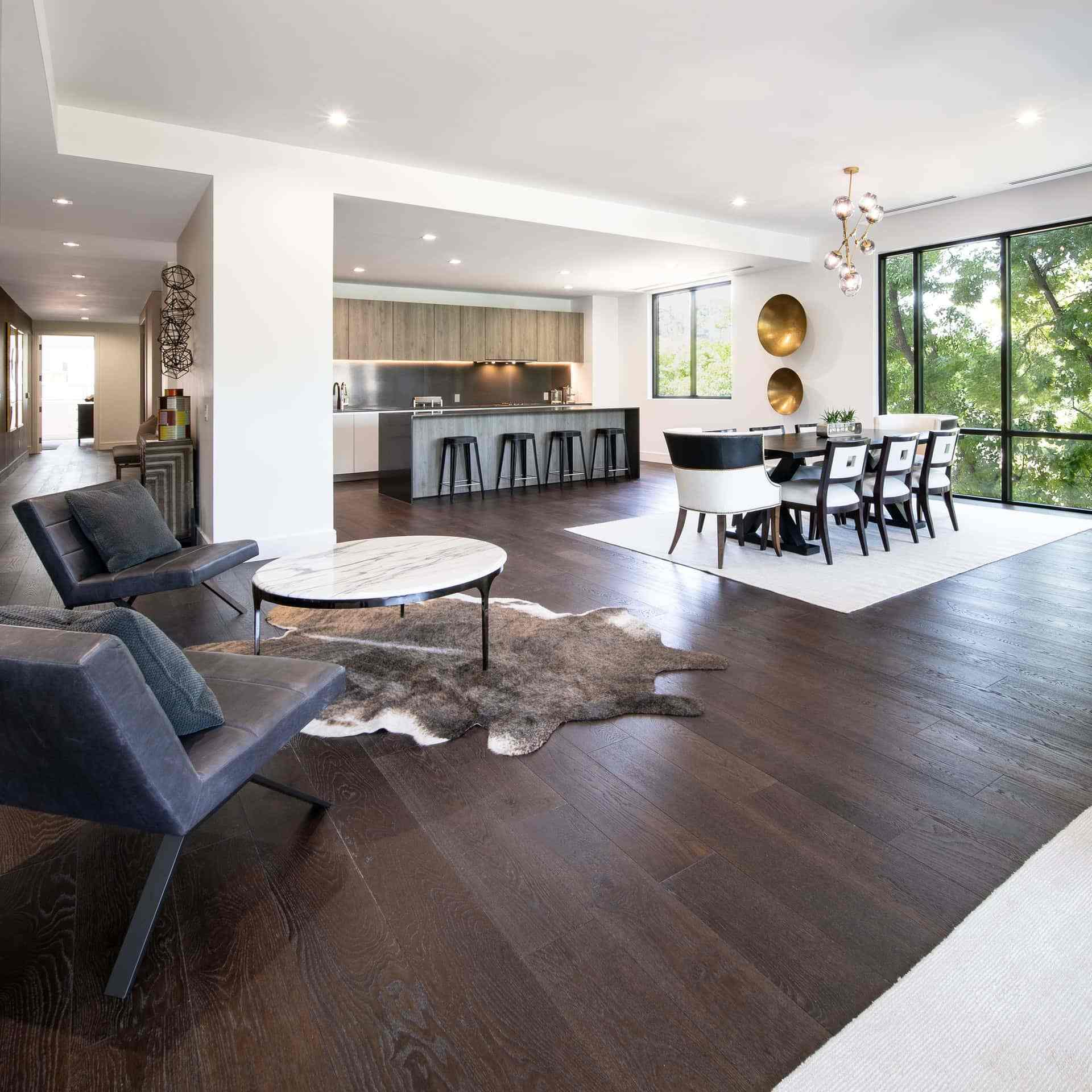 photo of dining room with wooden flooring