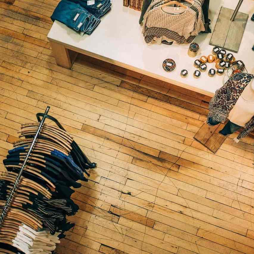 top view with wooden floor panels