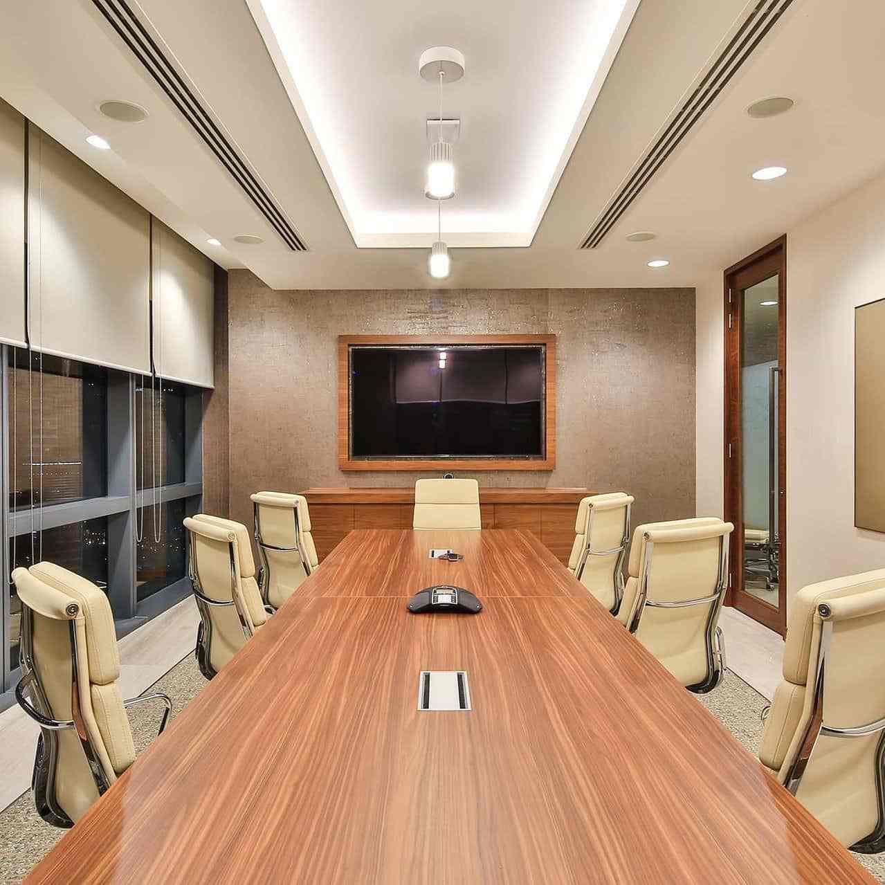office meeting room with plaster of paris and lighting