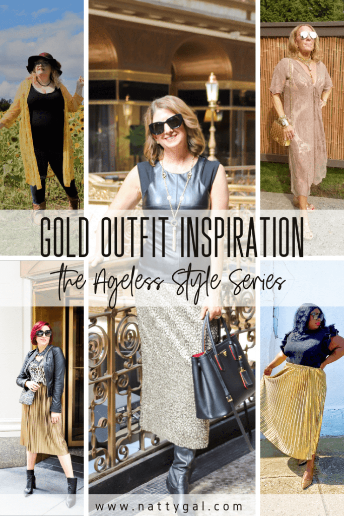For this quarter's Ageless Style Series, five of my fellow blogger babes are sharing their gold outfit inspiration.  Check out their 14-karat looks!