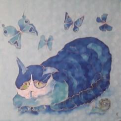 Кот и бабочки крепдешин 70х70