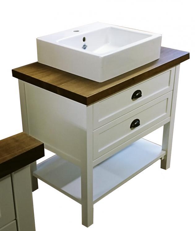 Waschtisch im Landhausstil wei shabby chic look Landhaus klein Waschtischunterschrank