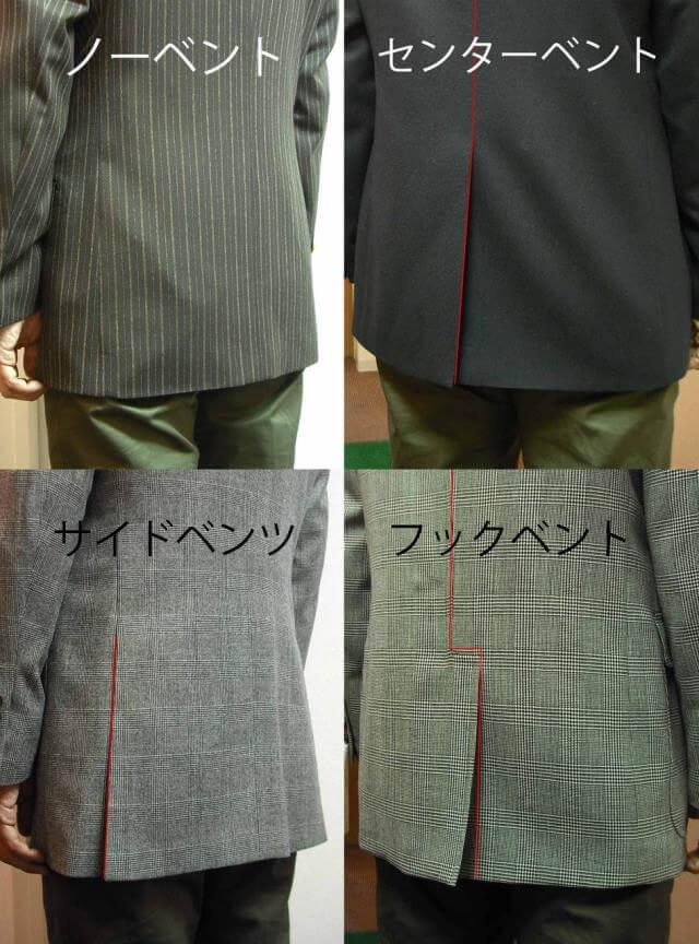男性スーツのベントの種類