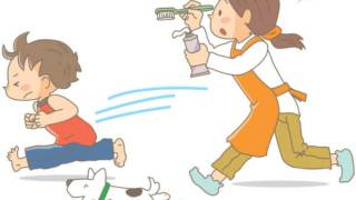 歯磨きから逃げる子どもと追うお母さん