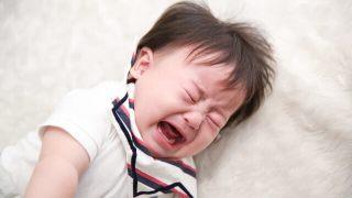 イヤイヤ期で泣いている子供の写真