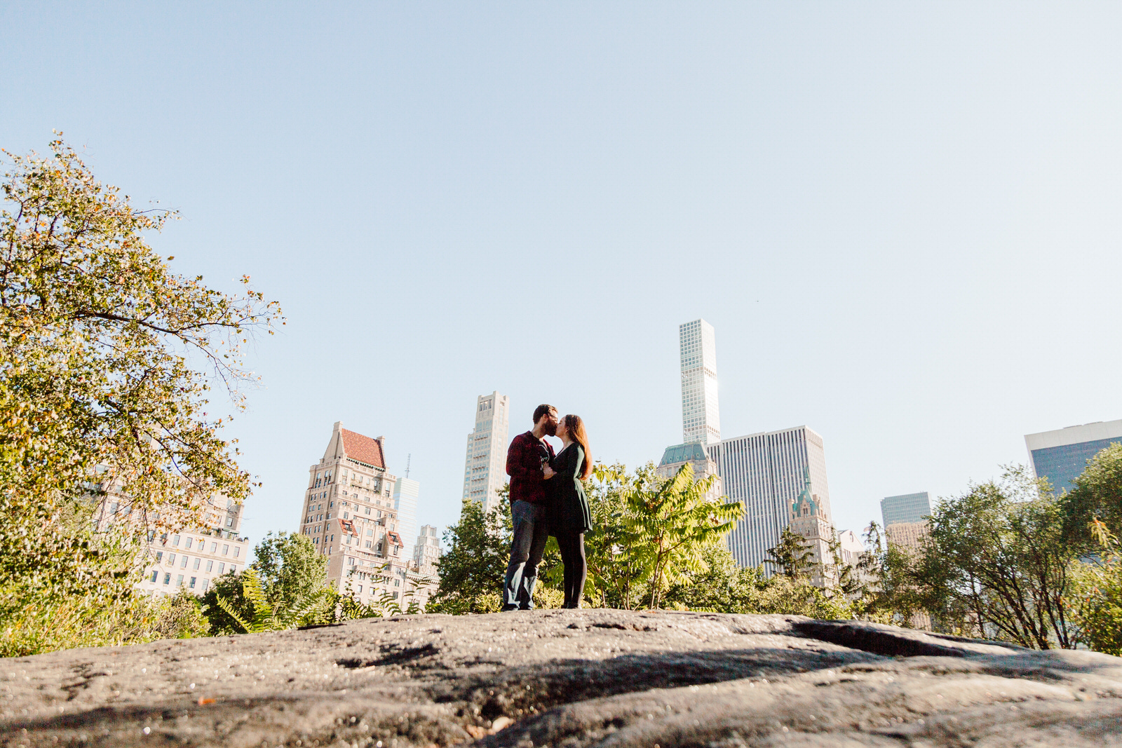 Central Park Engagement Session locations with skyline in the background