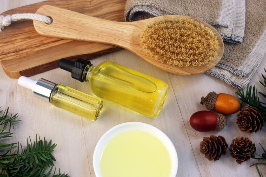 Natural hair care serums with hair brush