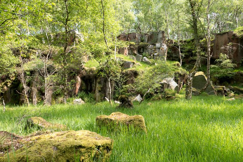 Former gritstone quarry.