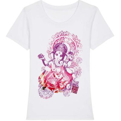 Elefantengott Ganesha auf weißem Yoga Shirt von Naturalbornyogi.