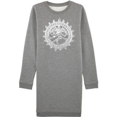 Graues Sweatshirt Kleid mit Shiva Aufdruck in Weiß.