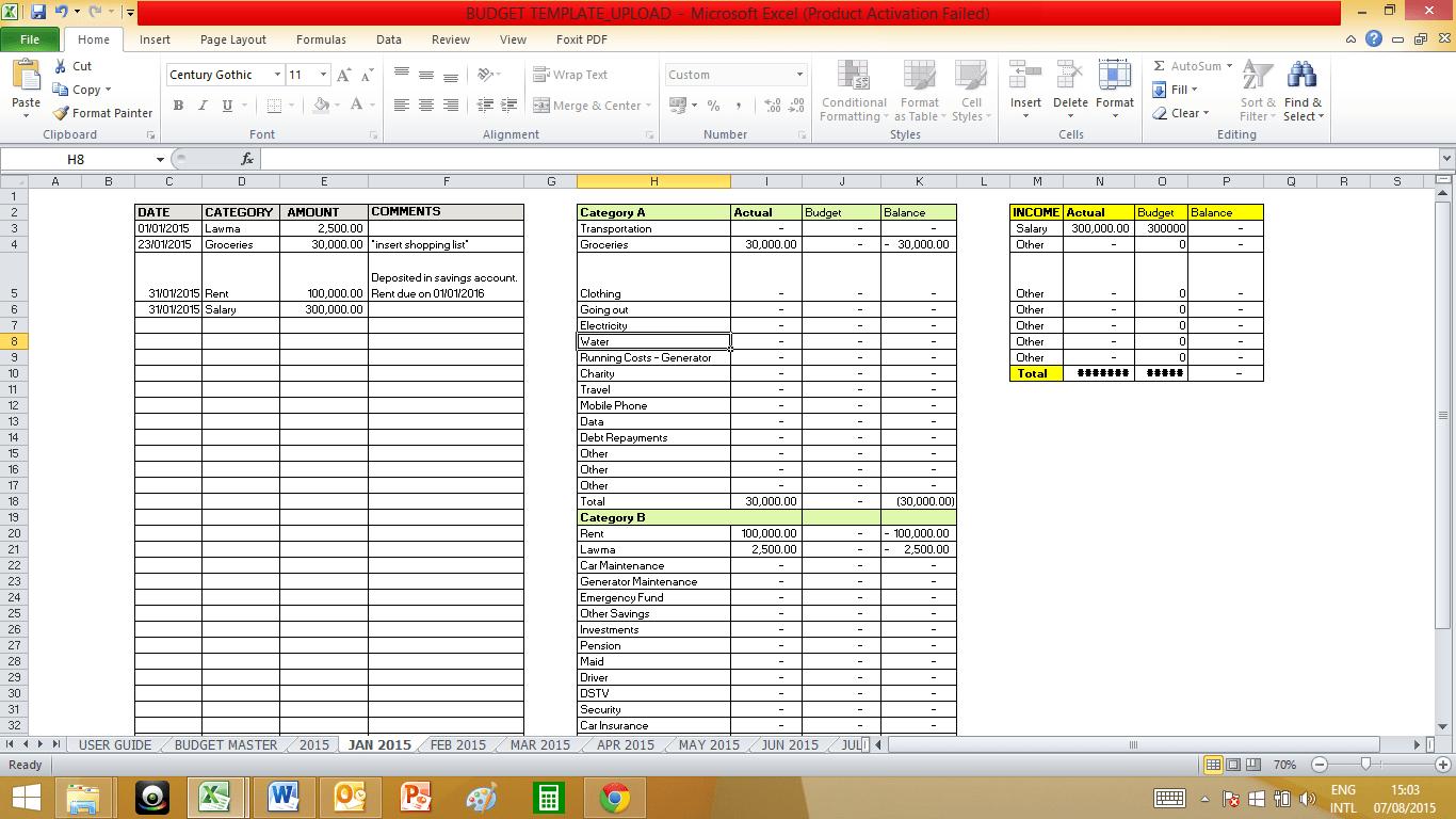 50 30 20 Budget Spreadsheet