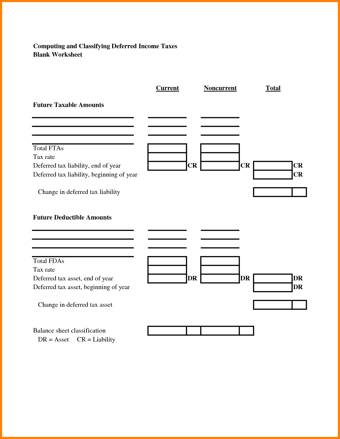 Assets And Liabilities Worksheet Excel