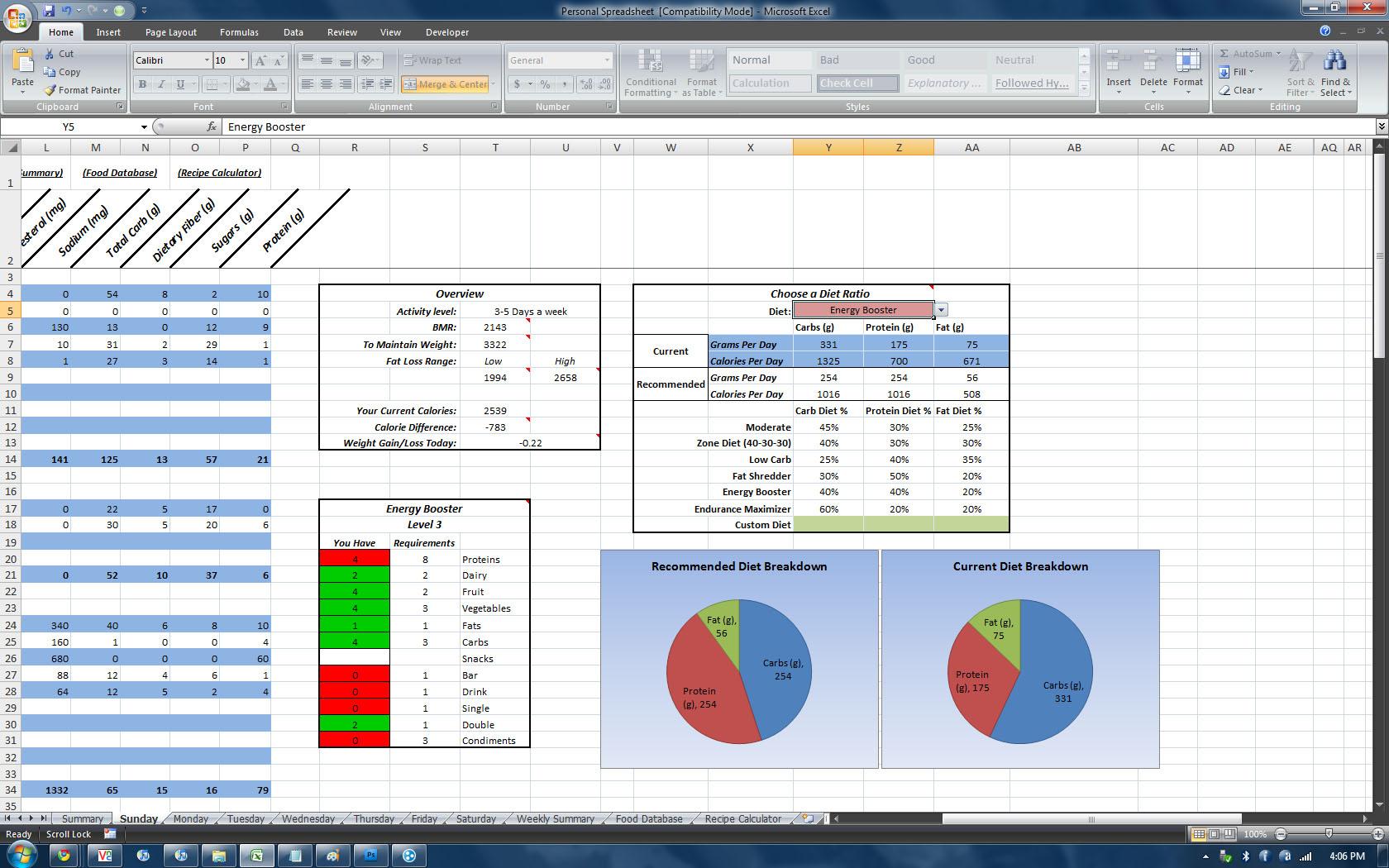 P90x3 Worksheets