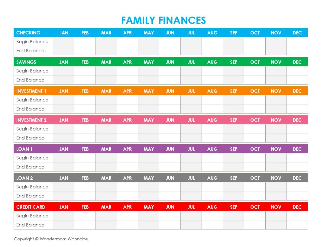 Family Expenses Spreadsheet