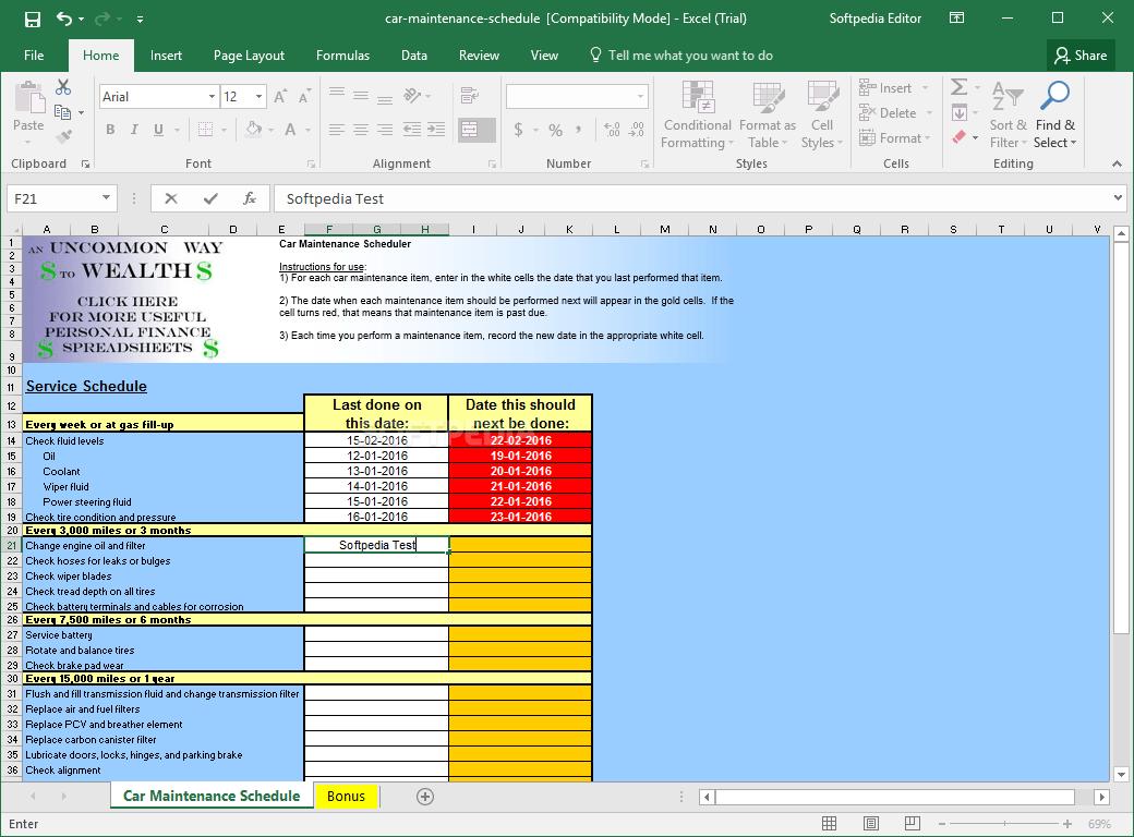 Fleet Vehicle Maintenance Spreadsheet