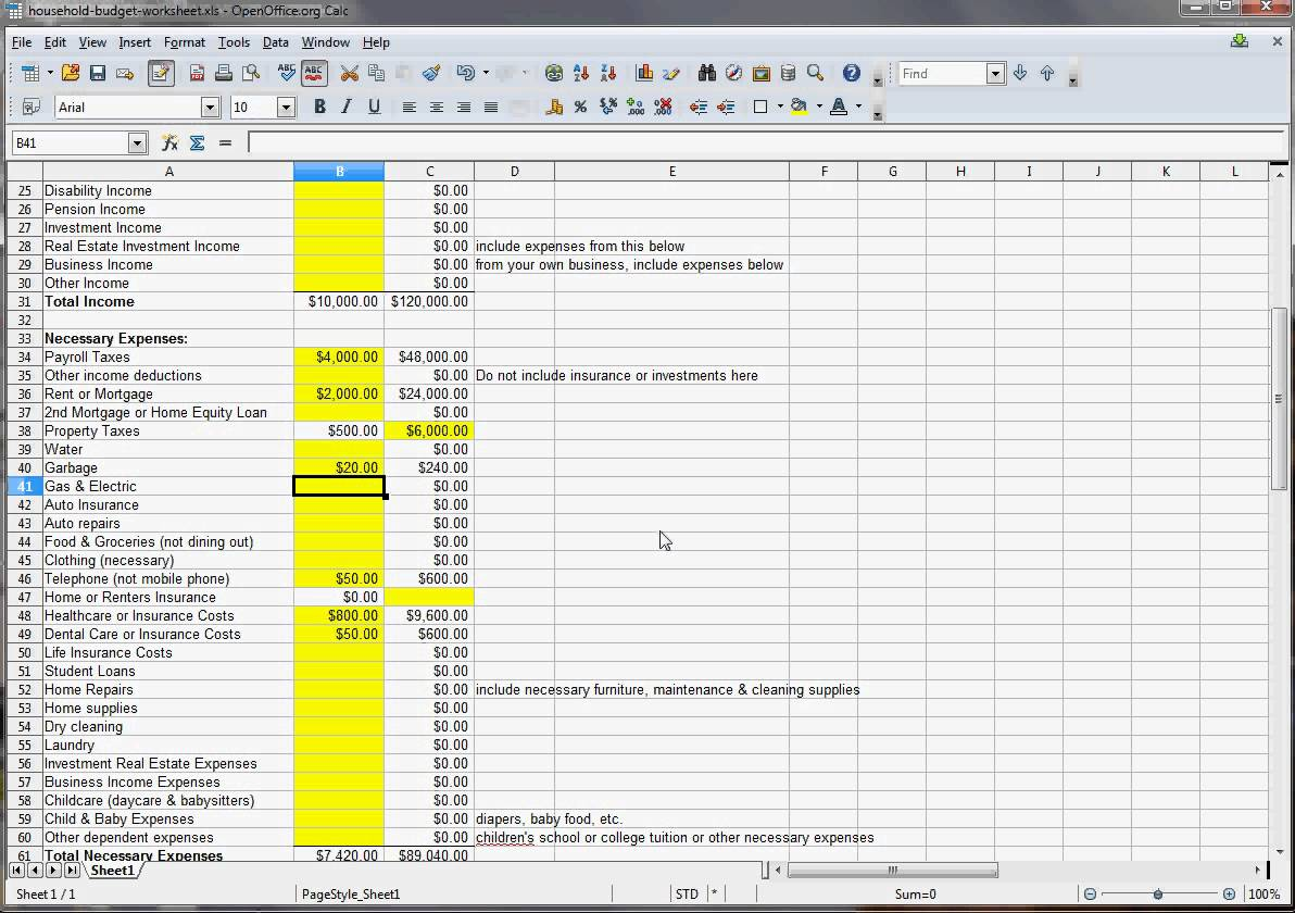 Household Expenses List Excel