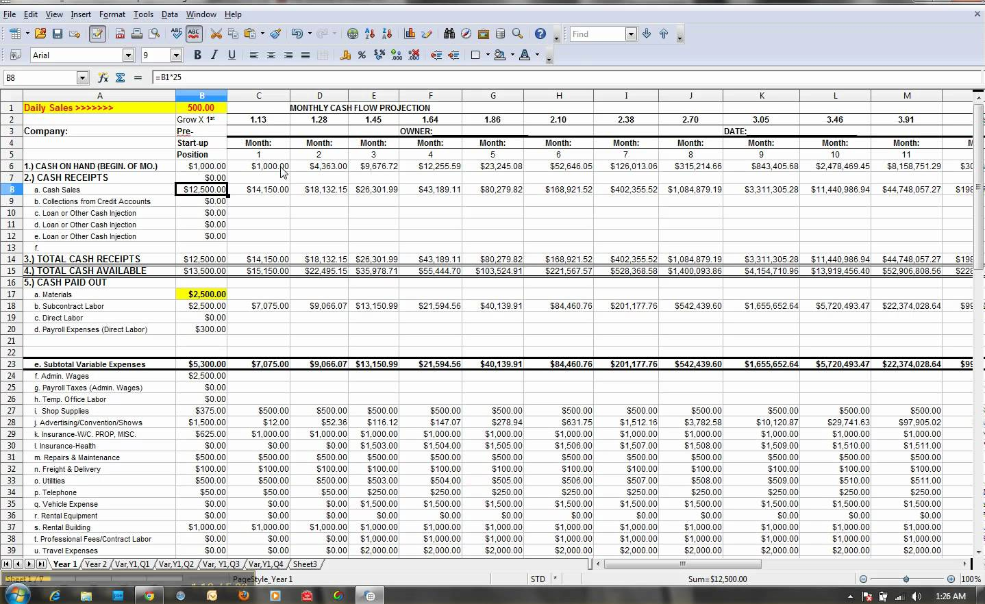 Weekly Cash Flow Projection Template Excel And 12 Month Cash Flow ...