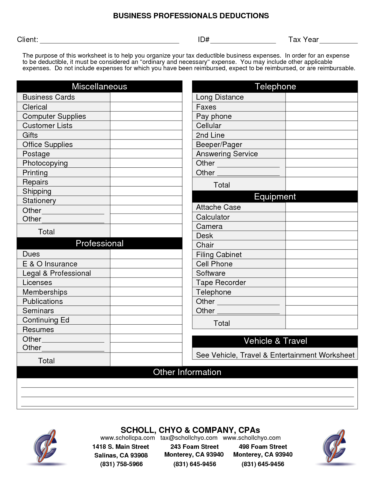 Small Business Spreadsheet For Taxes