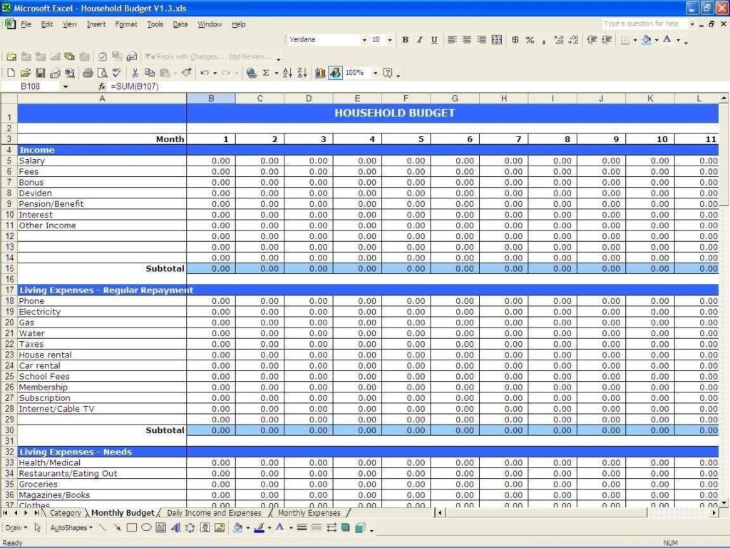 Business Income And Expense Spreadsheet Free