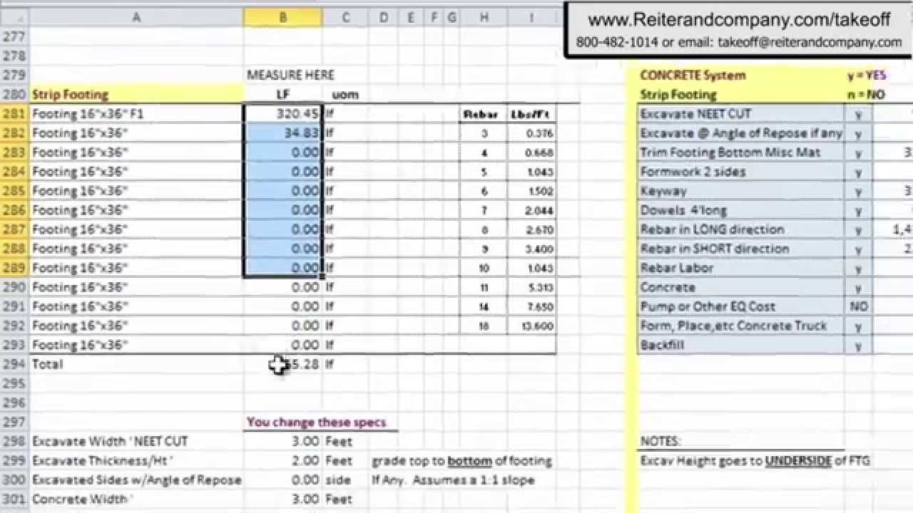 Construction Material Takeoff Excel Template  Natural