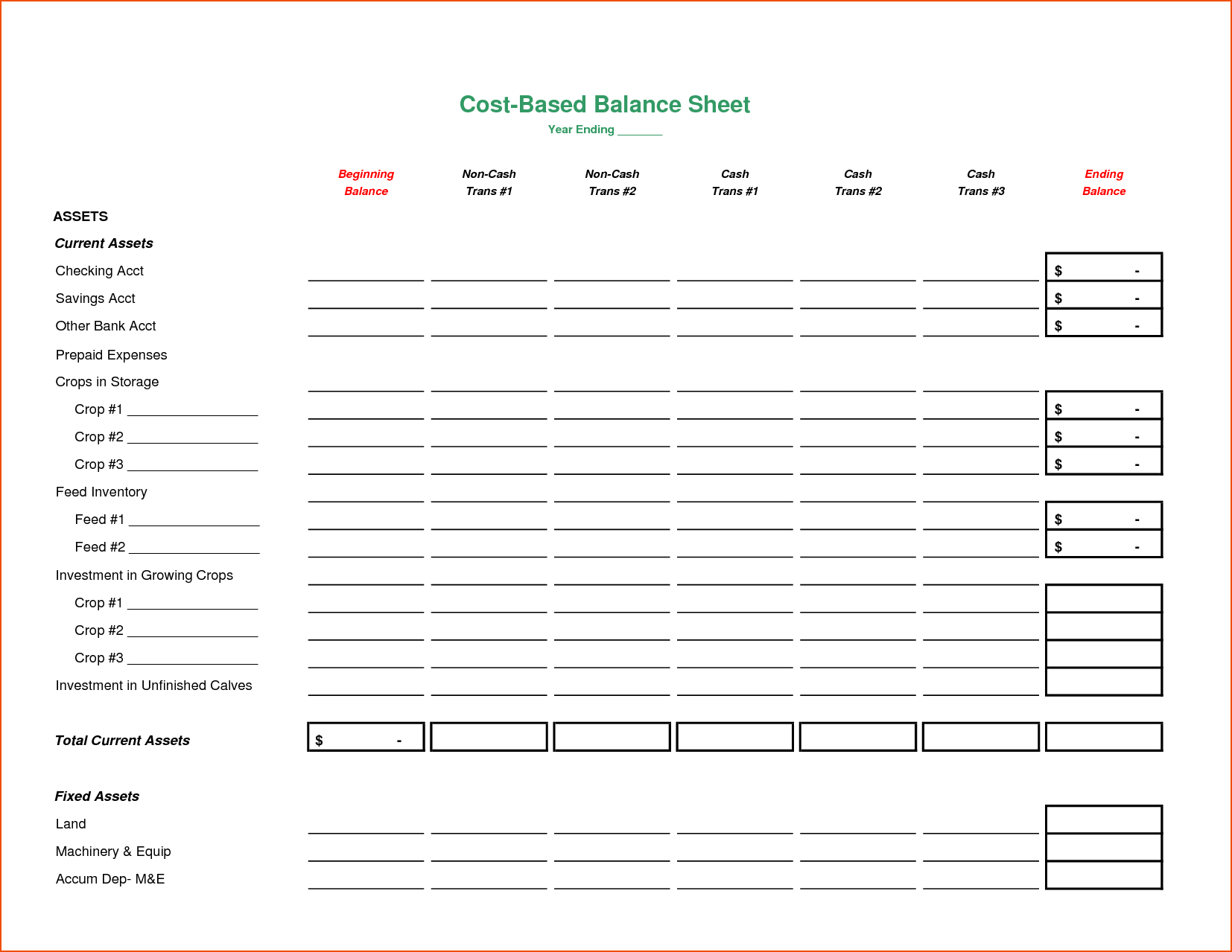 Assets And Liabilities Spreadsheet Template