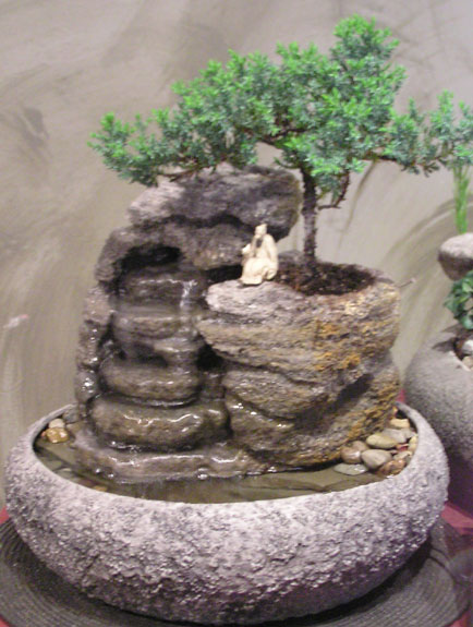 Small Fountain With Live Bonsai ss155  Natural Creations