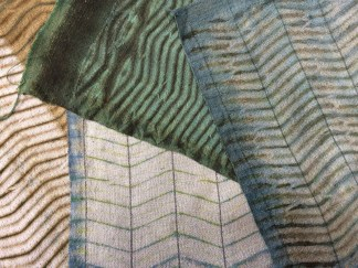Studies in green textures: mordanting printing, indigo, and woven resists