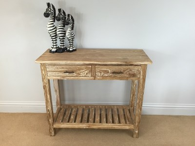 Indonesian Teak Hall Side Table White Wash