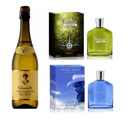 Foto mostrando garrafa de vinho e perfumes