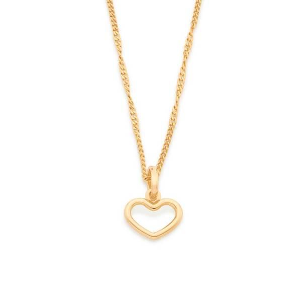 Conjunto Rommanel formado elo groumet 42 cm (530694) e pingente coração 1,3 cm (542262)