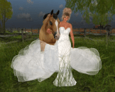 Sweet moments with Beauty, my horse from Image Essentials and  Snowpaws Rosazul Ice Gown.