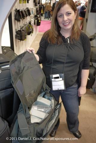 Suzanne shows the quality interior of the Pro Menssenger shoulder bag