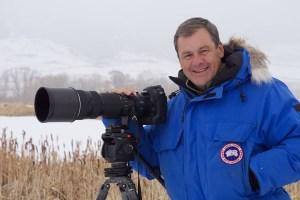 Daniel Cox poses with his Nikon camera. Bozeman Montana