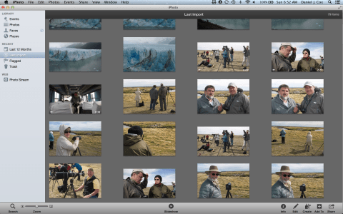 My new IPhoto Library with photos from our recent Patagonia trip.