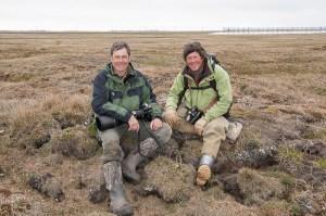 Denver Holt and Daniel Cox in a field near Barrow, Alaska.