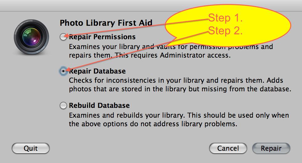 Repair Permissions and Repair Database dialog box