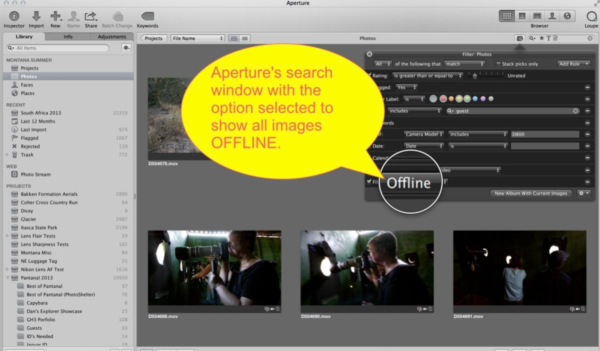 Aperture's highly effective and customizable search tool. This is what a DAM program is all about.