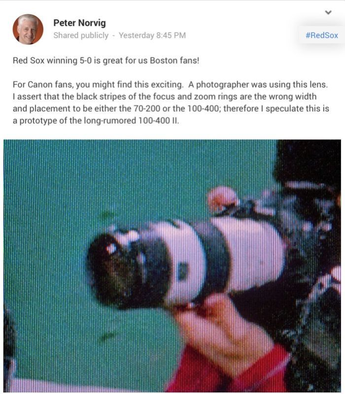 Could this be the new Canon 100-400mm zoom lens. If so it looks like it may have retained the often disliked push/pull zoom mechanism.