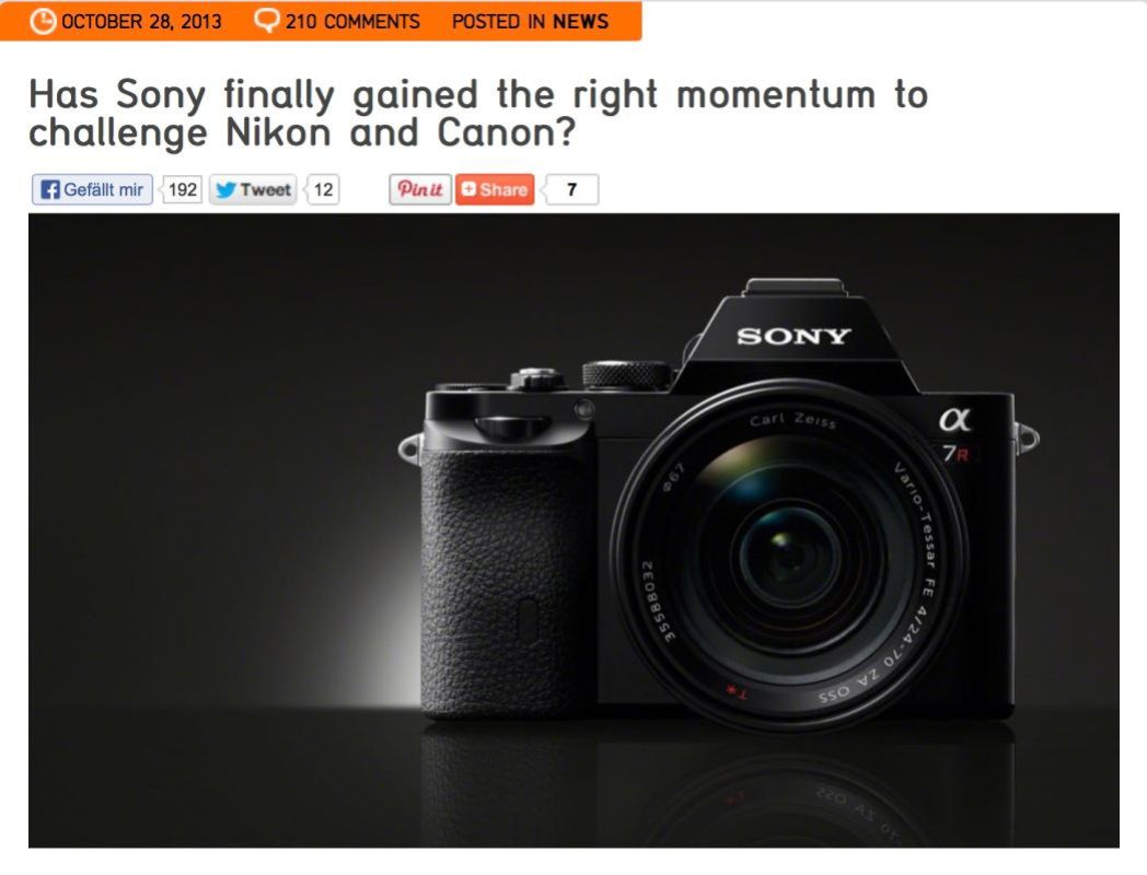 Sony showed two very interesting looking cameras at PhotoPlus Expo this year that incorporate a large full frame sensor in a mirrorless body. I've said it many times to those who travel with us, I don't think there will be many if any traditional DSLR's being manufactured in five years. Many industry insiders are now saying the same thing publicly.